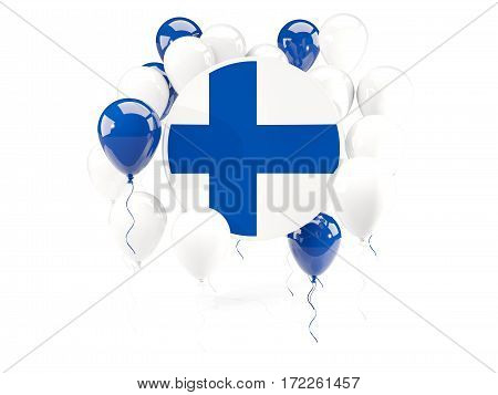 Round Flag Of Finland With Balloons