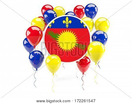 Round Flag Of Guadeloupe With Balloons