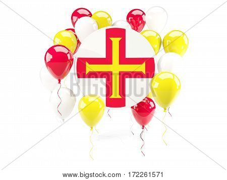 Round Flag Of Guernsey With Balloons