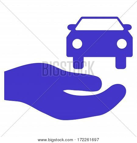 Car Gift Hand flat icon. Vector violet symbol. Pictograph is isolated on a white background. Trendy flat style illustration for web site design logo ads apps user interface.