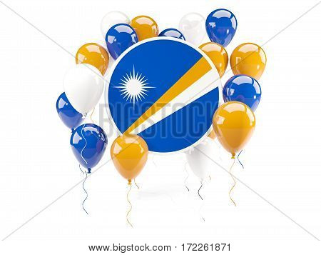 Round Flag Of Marshall Islands With Balloons