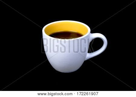 Morning !! , coffee cup on black background