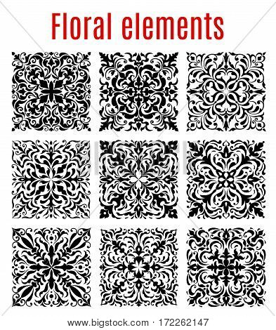 Floral tiles and flourish ornament borders of damask or flowery vector elements. Vector baroque ornamental mosaic pattern frames of luxury embellishment motif and tracery for interior design
