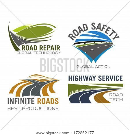 Road, highway or motorway lane and expressway drive vector icons for safety driving sign, transportation route repair, construction or car vehicle insurance company and navigation application
