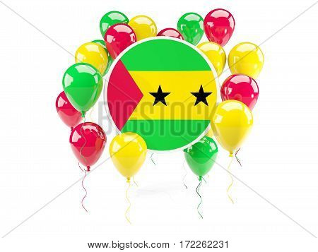 Round Flag Of Sao Tome And Principe With Balloons