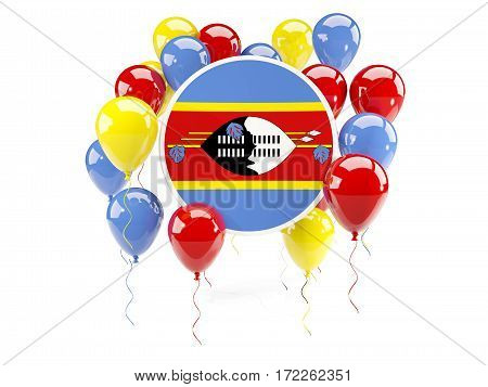 Round Flag Of Swaziland With Balloons