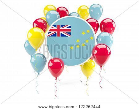 Round Flag Of Tuvalu With Balloons