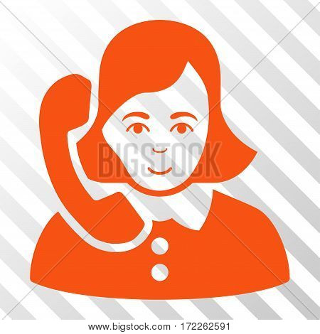 Orange Receptionist interface icon. Vector pictograph style is a flat symbol on diagonal hatch transparent background.