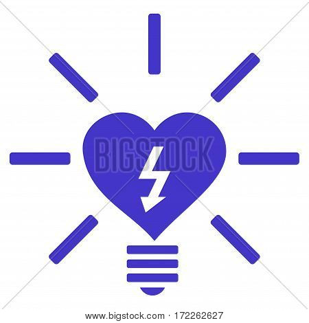 Heart Electric Bulb flat icon. Vector violet symbol. Pictogram is isolated on a white background. Trendy flat style illustration for web site design logo ads apps user interface.
