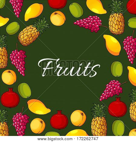 Fruits poster of vector apple or apricot or peach, exotic mango and pineapple, grape, kiwi and pomegranate. Farm market and garden ripe fruit harvest