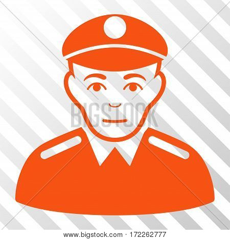 Orange Soldier toolbar icon. Vector pictogram style is a flat symbol on diagonally hatched transparent background.