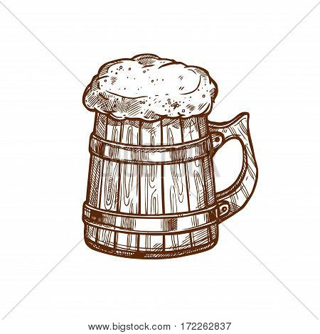 Beer glass mug vector icon. Sketched frothy ale or lager and draught beer pint in old wooden mug. Isolated emblem for beer bar and brewpub or pub, brewery company sign and beer festival