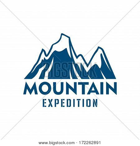 Mountain or rock vector icon. Blue snow peaks emblem for climbing extreme expedition or mountaineering sport adventure, winter explorer trip or tourist camping expedition, skiing or snowboarding