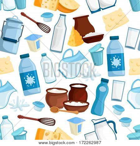 Milk and dairy seamless pattern of vector milky drinks products, bottle and butter, yogurt or kefir in pitcher, cottage cheese and cream in bowl, sour cream and curd for milk shop or market