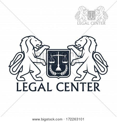 Advocacy and law legal center vector icon with heraldic lions holding shield of justice scales and laurel wreath. Sign for juridical company or advocate and justice attorney office, counsel and notary