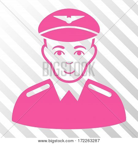 Pink Aviator interface pictogram. Vector pictograph style is a flat symbol on diagonally hatched transparent background.