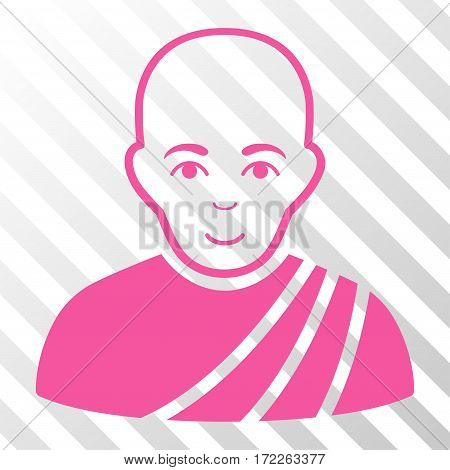 Pink Buddhist Monk interface icon. Vector pictograph style is a flat symbol on diagonally hatched transparent background.