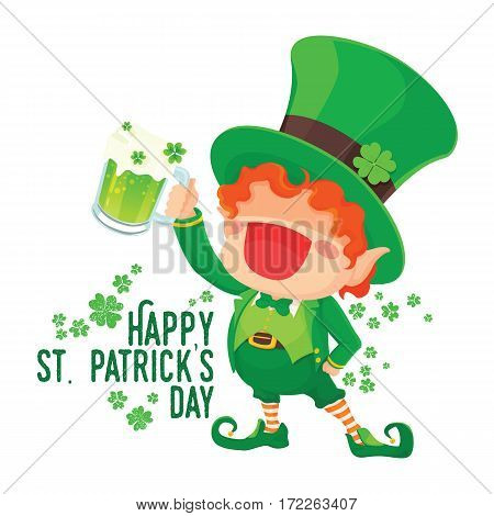 Vector Illustration of St. Patrick's Day Happy Leprechaun with Mug of Green Beer for Greeting Card.