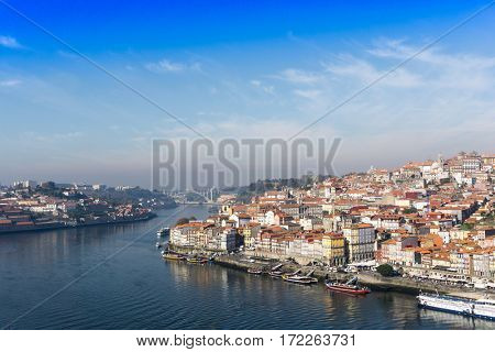 PORTO, PORTUGAL - November 17, 2016. Street view of old town Porto, Portugal, Europe, is the second largest city in Portugal, has a population of 1.4 million.