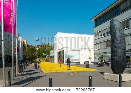 BERLIN, GERMANY- May 15,2016: Typical Street view May 15,2016 in Berlin, Germany. Berlin is the capital of Germany. With a population of approximately 3.5 million people.BERLIN, GERMANY