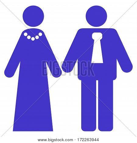 Newlyweds flat icon. Vector violet symbol. Pictogram is isolated on a white background. Trendy flat style illustration for web site design logo ads apps user interface.
