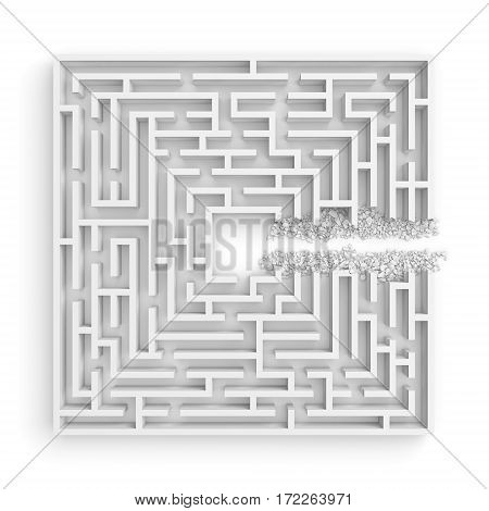 3d rendering of a white square maze with a direct route cut right to the center. Puzzles and problems. Unexpected solutions. Mazes and labyrinths.