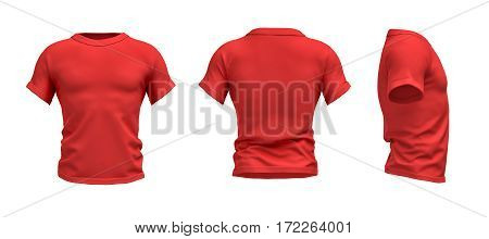3d rendering of a red T-shirt shaped as a realistic male torso in front, side and back view. Ads and promotions. Sports and fitness. Fashion sales.