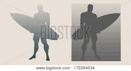 Man posing with surfboard. Monochrome silhouette. Vector illustration. Vintage Surfing Graphic and Emblem. Halftones background. Spotted Circles Overlay Dots Texture.