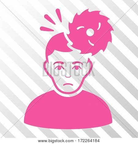 Pink Headache interface toolbar icon. Vector pictograph style is a flat symbol on diagonally hatched transparent background.