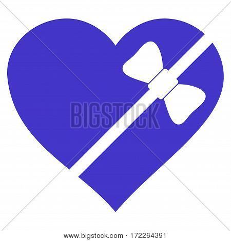 Tied Love Heart flat icon. Vector violet symbol. Pictogram is isolated on a white background. Trendy flat style illustration for web site design logo ads apps user interface.