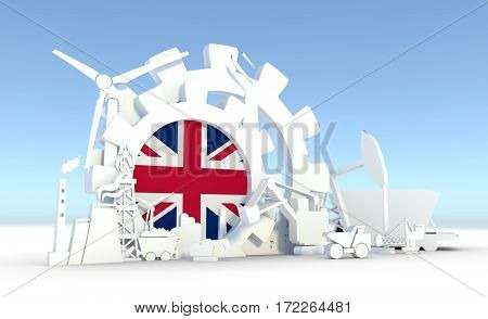 Energy and Power icons set with Britain flag. Sustainable energy generation and heavy industry. 3D rendering.