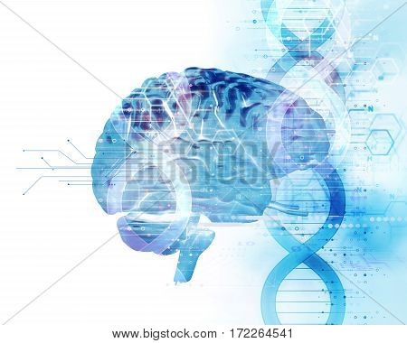3D Illustration Of Human Head On Dna Molecules  Abstract Technology Background