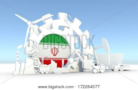 Energy and Power icons set with Iran flag. Sustainable energy generation and heavy industry. 3D rendering.
