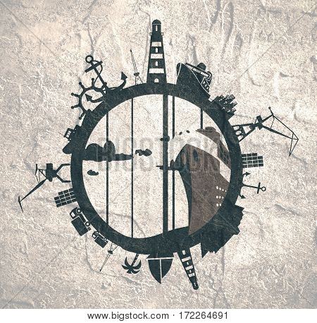Circle with sea shipping and travel relative silhouettes. Concrete texture. Objects located around the circle. Industrial design background.