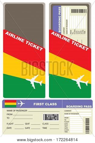 Plane ticket first class in Bolivia. Vector illustration.