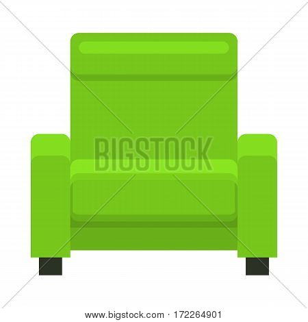 Armchair in flat style. Vector green barrel chair. Modern beautiful design elements for retro cozy interior. Isolated illustration on white background.