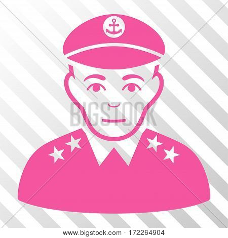 Pink Military Captain interface pictogram. Vector pictograph style is a flat symbol on diagonal hatch transparent background.