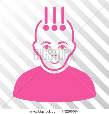 Pink Neural Interface interface toolbar icon. Vector pictogram style is a flat symbol on diagonally hatched transparent background.