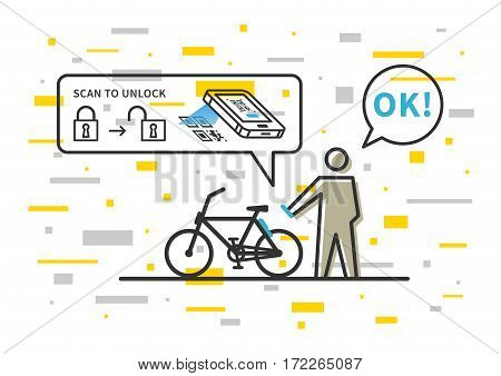 Bicycle renting app vector illustration. Application to rent bike creative concept. Bike renting service with software to scan qr code to unlock transport vehicle graphic design.