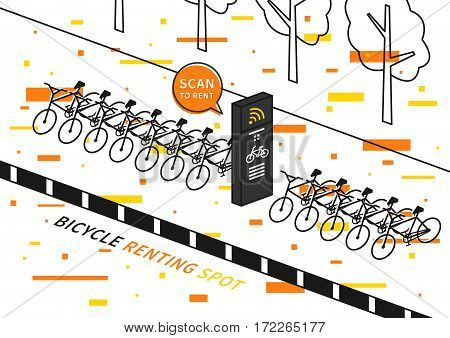 Bike renting station vector illustration with decorative elements. Row of bicycles to rent creative concept. Wireless station for sharing and renting bikes graphic design.