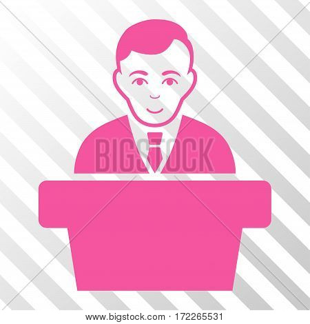 Pink Politician toolbar pictogram. Vector pictogram style is a flat symbol on diagonally hatched transparent background.
