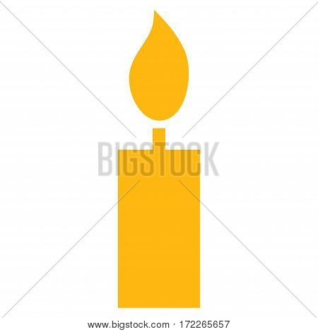 Candle flat icon. Vector yellow symbol. Pictogram is isolated on a white background. Trendy flat style illustration for web site design logo ads apps user interface.
