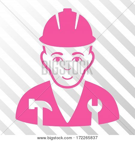 Pink Serviceman interface pictogram. Vector pictograph style is a flat symbol on diagonally hatched transparent background.