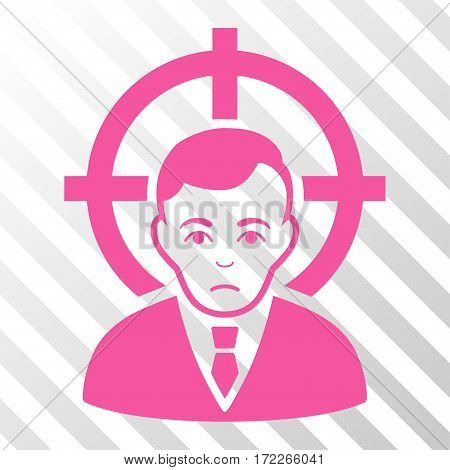 Pink Victim Businessman interface icon. Vector pictogram style is a flat symbol on diagonally hatched transparent background.