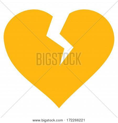 Heart Break flat icon. Vector yellow symbol. Pictograph is isolated on a white background. Trendy flat style illustration for web site design logo ads apps user interface.