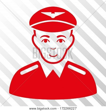 Red Aviator interface icon. Vector pictograph style is a flat symbol on diagonal hatch transparent background.