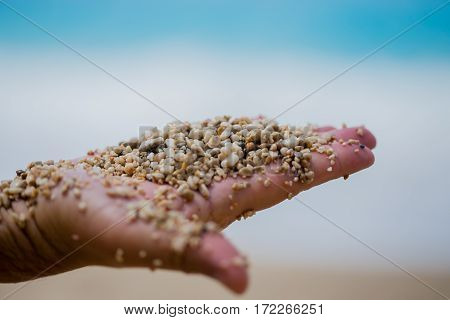 Man Palm Holding Pebble  And Sand