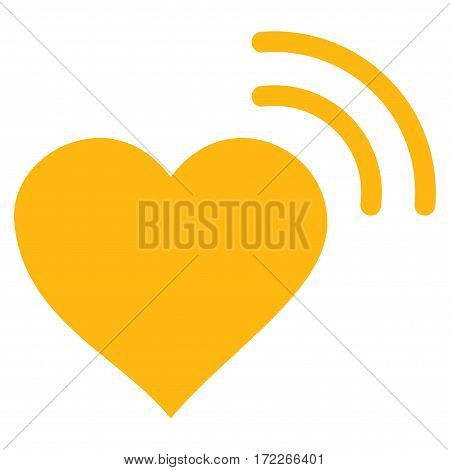 Heart Radio Signal flat icon. Vector yellow symbol. Pictograph is isolated on a white background. Trendy flat style illustration for web site design logo ads apps user interface.