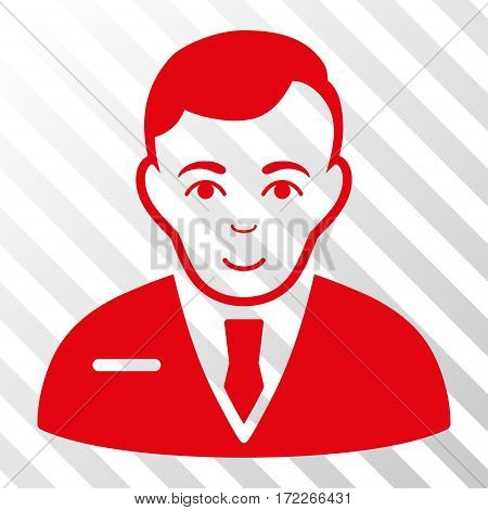 Red Businessman toolbar icon. Vector pictogram style is a flat symbol on diagonally hatched transparent background.