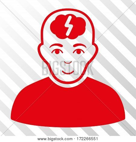 Red Clever Boy toolbar pictogram. Vector pictograph style is a flat symbol on diagonal hatch transparent background.